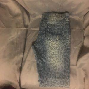 Almost Famous Leopard Print Blue Jeans